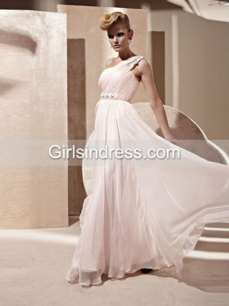 A-line Crystal Beading Organza One-shoulder Evening Dress