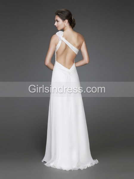 A-line One-shoulder Floor-length Evening Dress With Flowers