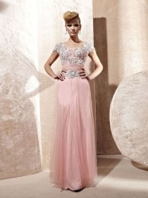 A-line Embroidery Organza Short Sleeves Evening Dress