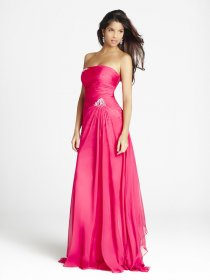 A-line Chiffon Strapless Floor-length Prom Dress