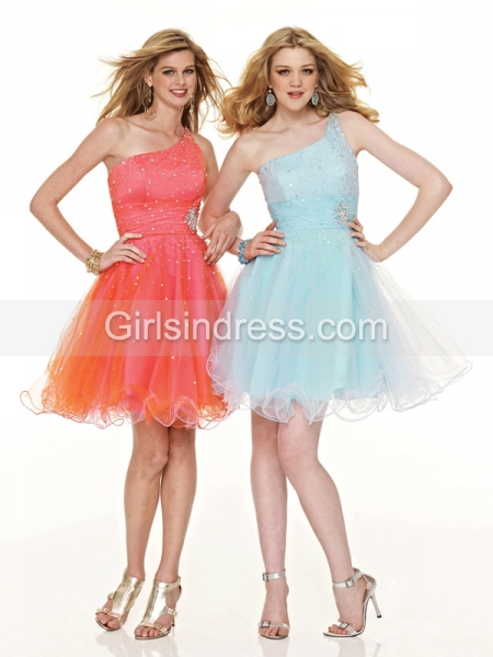 Ball Gown Organza One-shoulder Beading Graduation Dress