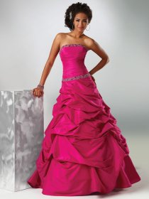 Ball Gown Strapless Floor-length Beading and Ruched Taffeta Prom Dress