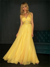 V-neck Chiffon Over Satin Low-cut Prom Dress