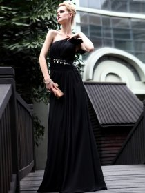 Elegant A-line One Shoulder Beaded Chiffon Evening Dress