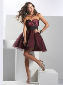 Elegant Ball Gown Sweetheart Beading Satin Cocktail Dress