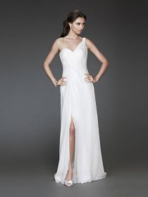 Elegant One-shoulder Backless Sheath Chiffon Evening Dress