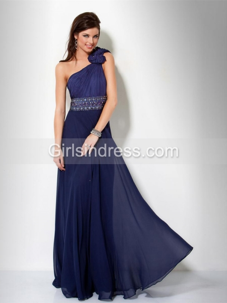 one shoulder beaded belt chiffon prom dress pd104