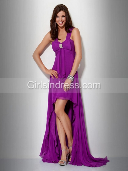 Gorgeous A-line Straps Beading Chiffon Evening Dress