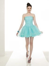 Little Cute Strapless Beaded Organza Graduation Dress