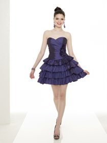 Little Sweetheart Satin Cascading Ruffle Cocktail Dress