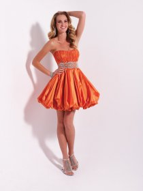Lovely Strapless Satin Beading Ruffle Homecoming Dress