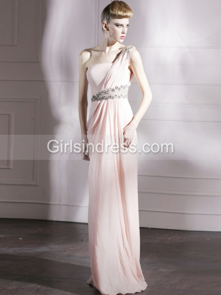One-shoulder Jewery Beaded Floor-length Chiffon Satin Prom Dress