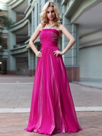 Organza A-line Strapsless Beaded Floor Length Evening/Party Dress