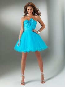 Cute Strapless Satin Organza Bowknot Graduation Dress