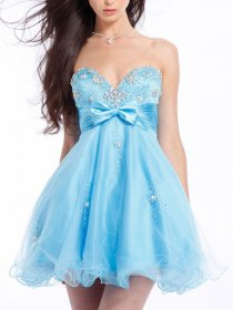 Pretty Strapless Crystals Sweetheart Organza&Satin Graduation Dress