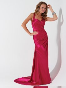 Sexy Straps Satin Ruched Sweep Train Evening Dress