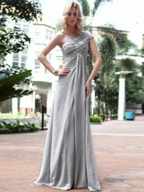 Sheath/Column One Shoulder Beaded Satin Floor Length Evening Dress