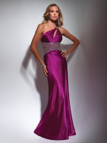 Sheath One-shoulder Floor-length Beading Satin Evening Dress