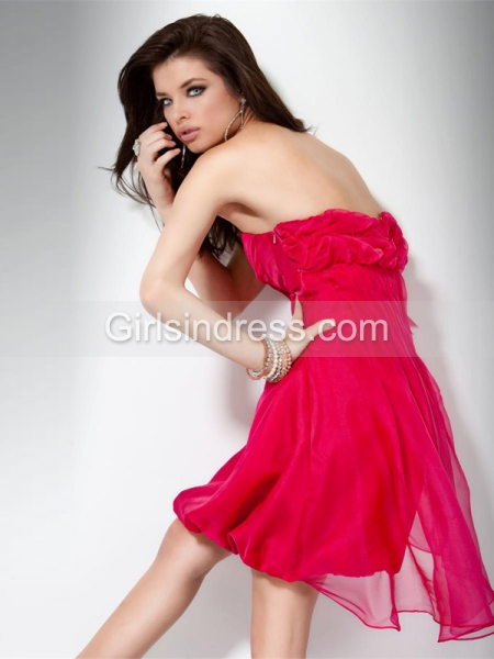 Sleeveless Sweetheart Chiffon Homecoming Dresswith Handmade Flowres