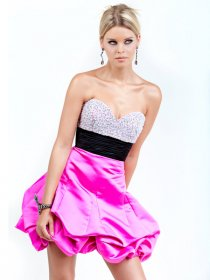 Sweetheart Beading Satin Short/Mini Cocktail Dress with Black Belt