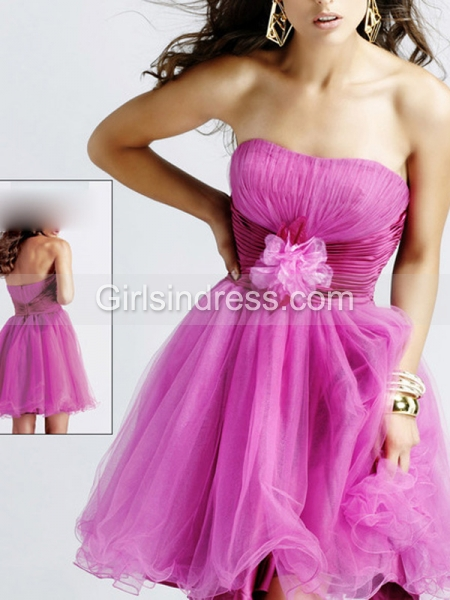 A-line Flower Detailed Strapless Organza&Satin Graduation Dress