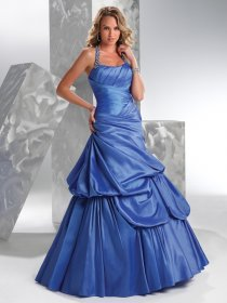 A-line Halter Floor-length Ruched&Beaded Satin Prom Dress