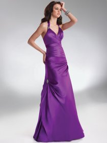 A-line Halter Pleated and Beaded Floor-length Prom Dress