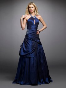 A-line Jewel Beading Satin Evening Dress