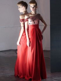 A-line One-Shoulder Satin Crystals & Beading Evening Dress