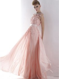 A-line Sleevless Web Organza Fancy Prom Dress