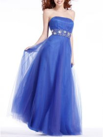A-line Sptrapless Crystals Floor Length Organza Satin Prom Dress