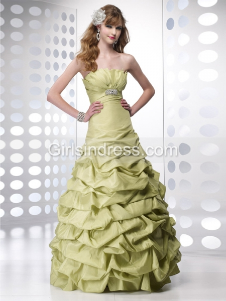 A-line Strapless Cascading Ruffle Taffeta Engagement Dress
