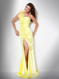 Attractive Sheath One-shoulder Flowers Satin Evening Dress