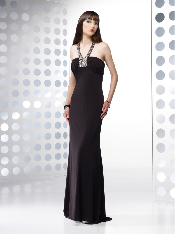 Column Jewel Beading Satin Evening Dress