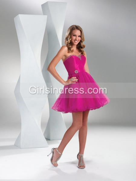 Dainty Strapless Sweetheart Satin Organza Beading Homecoming Dress