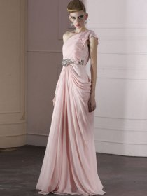 Elegant One-shoulder Falbala Jewery Organza Evening Dress