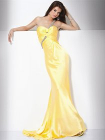 Elegant Mermaid Beading One-shoulder Satin Evening Dress