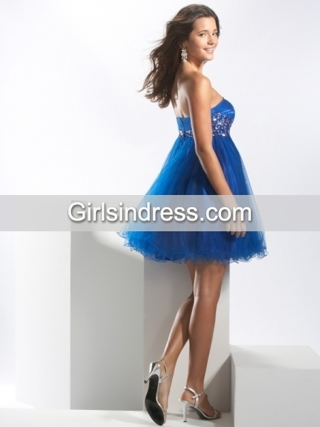 Gorgeous A-line Beading Organza&Satin Sweetheart Homecoming Dress