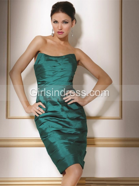 Green Strapless Pleated Knee-Length Satin Cocktail Dress