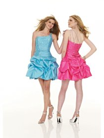 Little Beading One-shoulder Satin Homecoming Dress