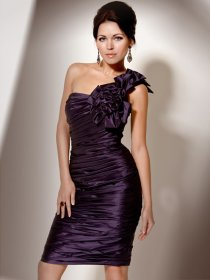 One-shoulder Pleated Satin with Handmade Flowers Sheath Cocktail Dress