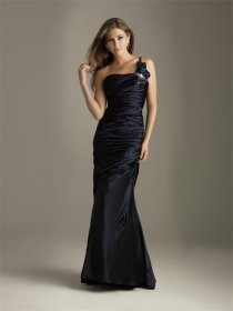 Satin One-shoulder Evening Dress