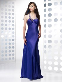 Sheath Jewel Beading Satin Evening Dress