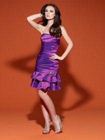 Sheath Strapless Cascading Ruffle Satin Cocktail Dress