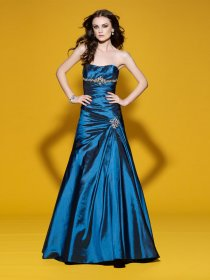 Sheath Sweetheart Beading Satin Prom Dress