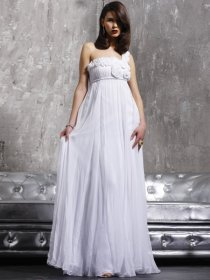 Elegant Flowers A-line Chiffon One-shoulder Prom Dress