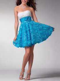 A-line Appliques Strapless Flowers Satin Graduation Dress