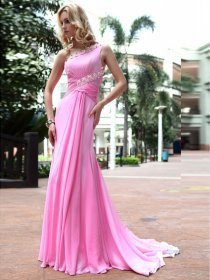 A-line One Shoulder Silk-like Satin Sweep/Brush Train Evening Dress