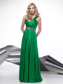 A-line One-shoulder Beading Satin Evening Dress