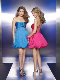 A-line Strapless Satin Homecoming Dress with Handmade Flowers
